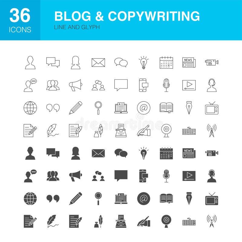 Linha ícones do blogue do Glyph da Web ilustração stock