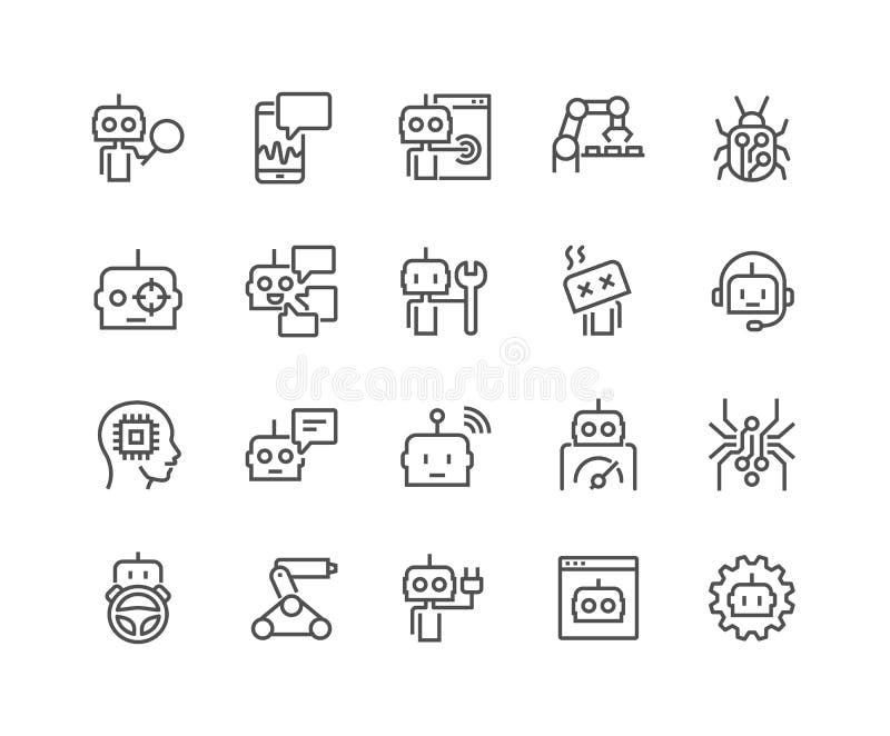 Linha ícones do bot ilustração stock