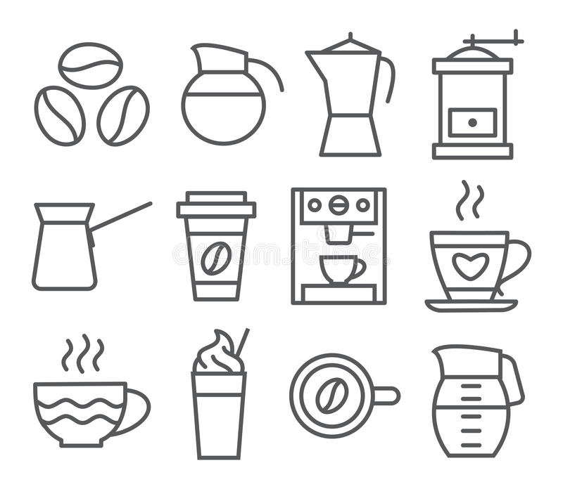Linha ícones do café ilustração royalty free