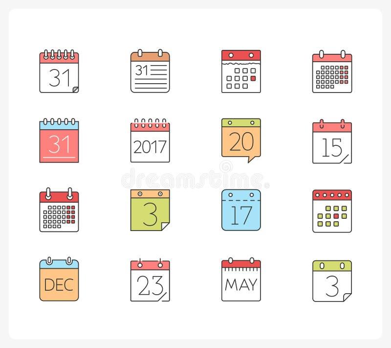Linha ícones do calendário ilustração do vetor