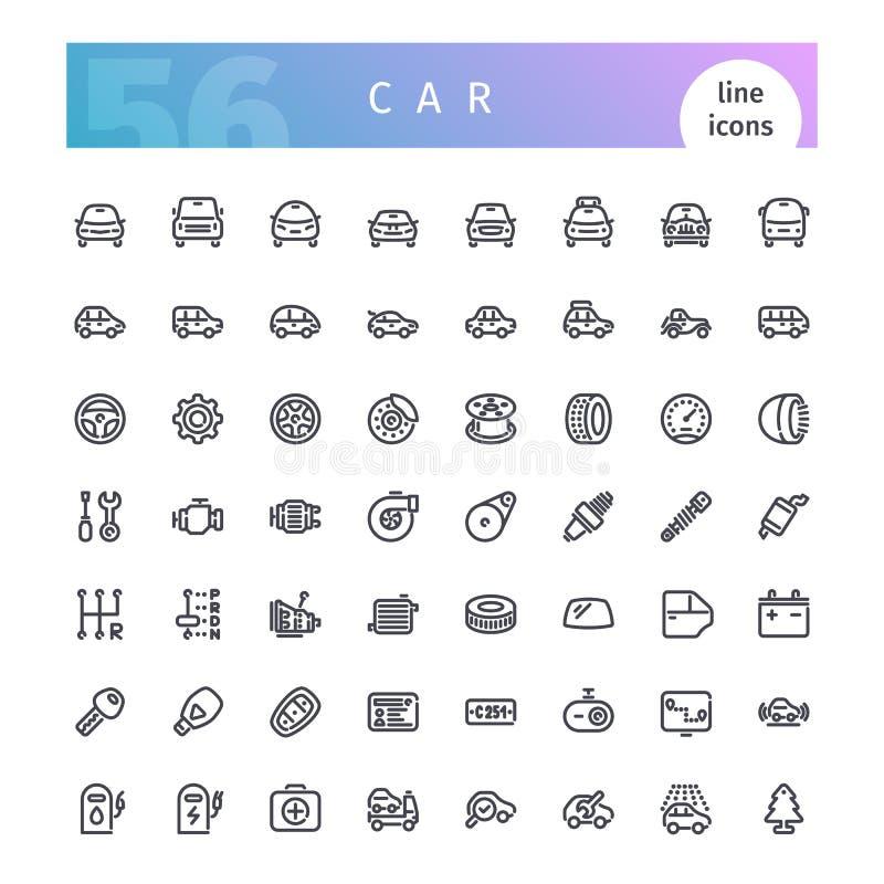 Linha ícones do carro ajustados ilustração stock