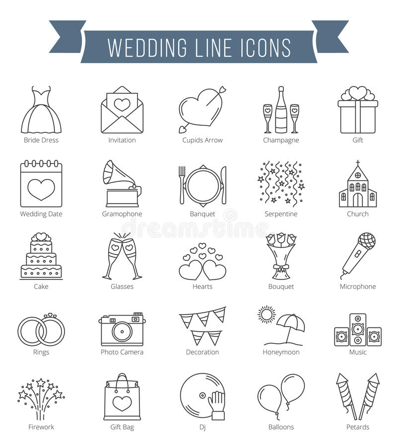 Linha ícones do casamento ilustração stock