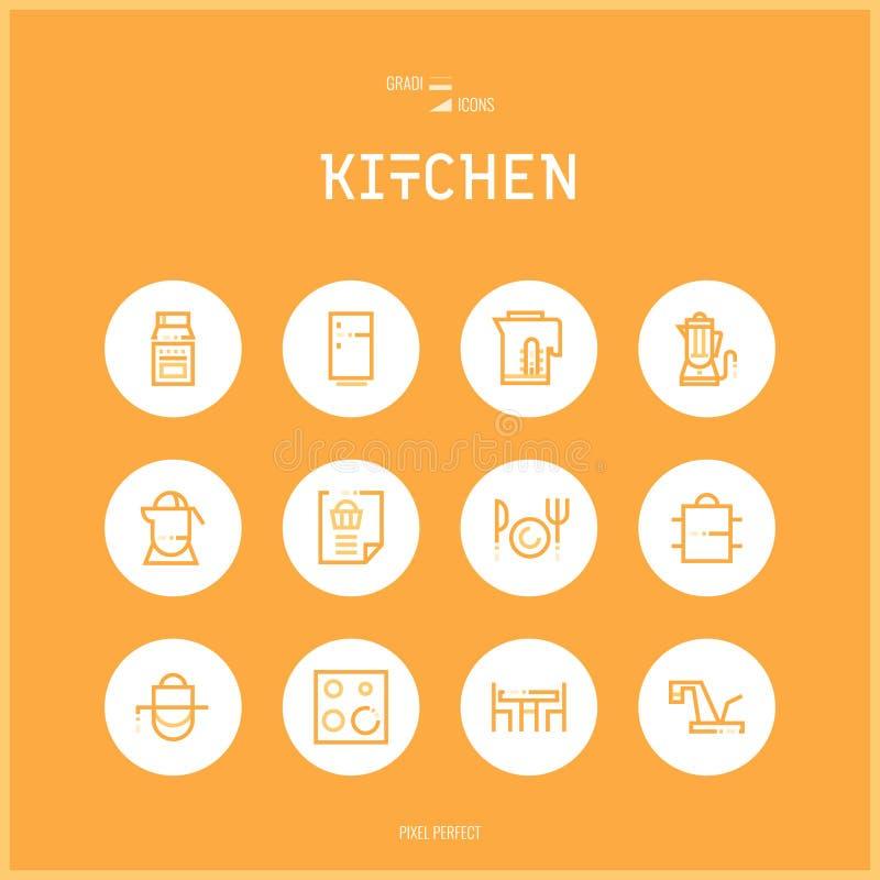 A linha ícones do colorfuul ajustou a coleção da cozinha e alimentos do cozimento ilustração royalty free