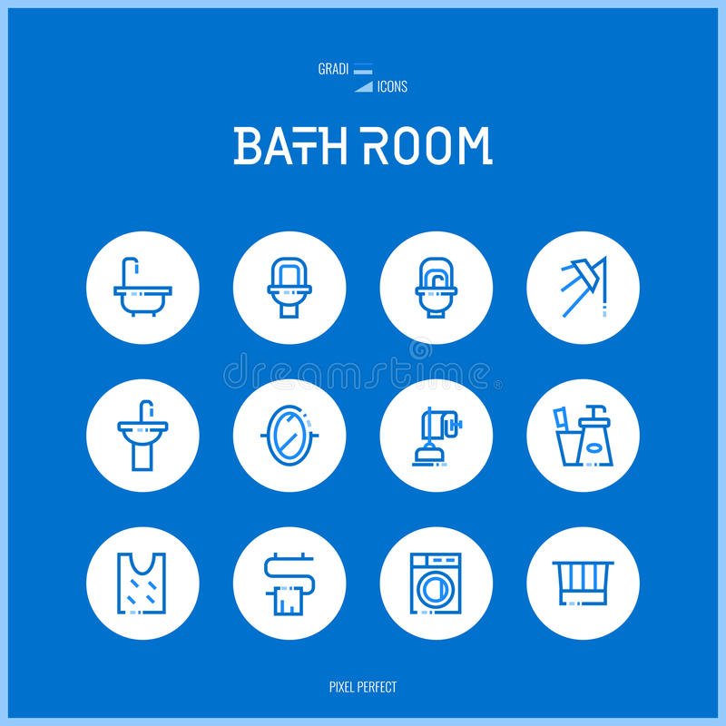 A linha ícones do colorfuul ajustou a coleção da sala do banho ilustração do vetor
