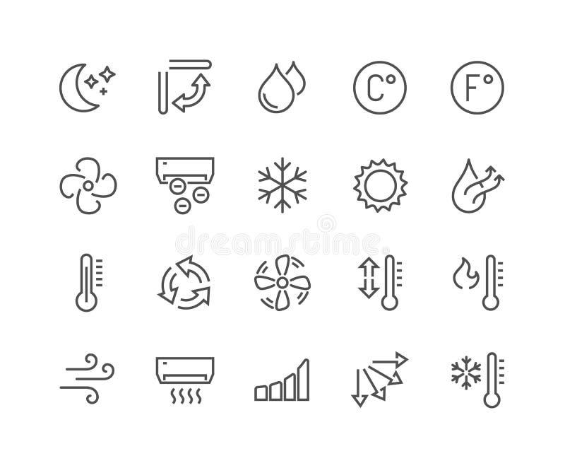 Linha ícones do condicionamento de ar ilustração royalty free