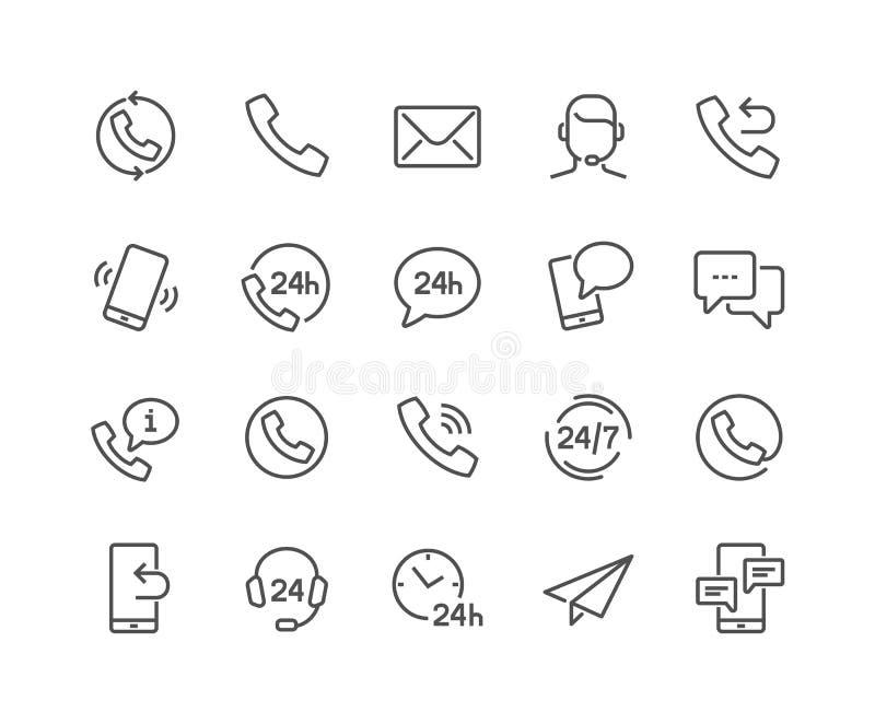 Linha ícones do contato ilustração stock
