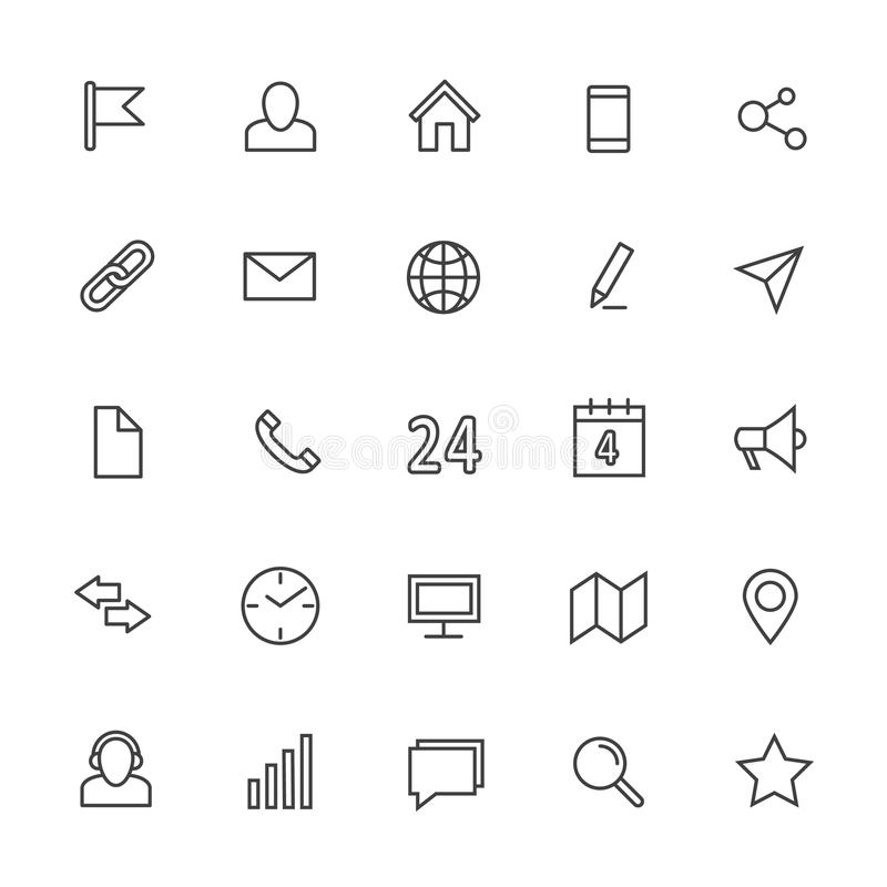 Linha ícones do contato do vetor Símbolos do esboço de uma comunicação dos meios e do Internet ilustração stock