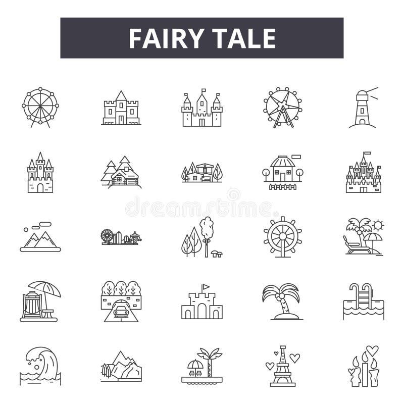 Linha ícones do conto de fadas, sinais, grupo do vetor, conceito da ilustração do esboço ilustração royalty free