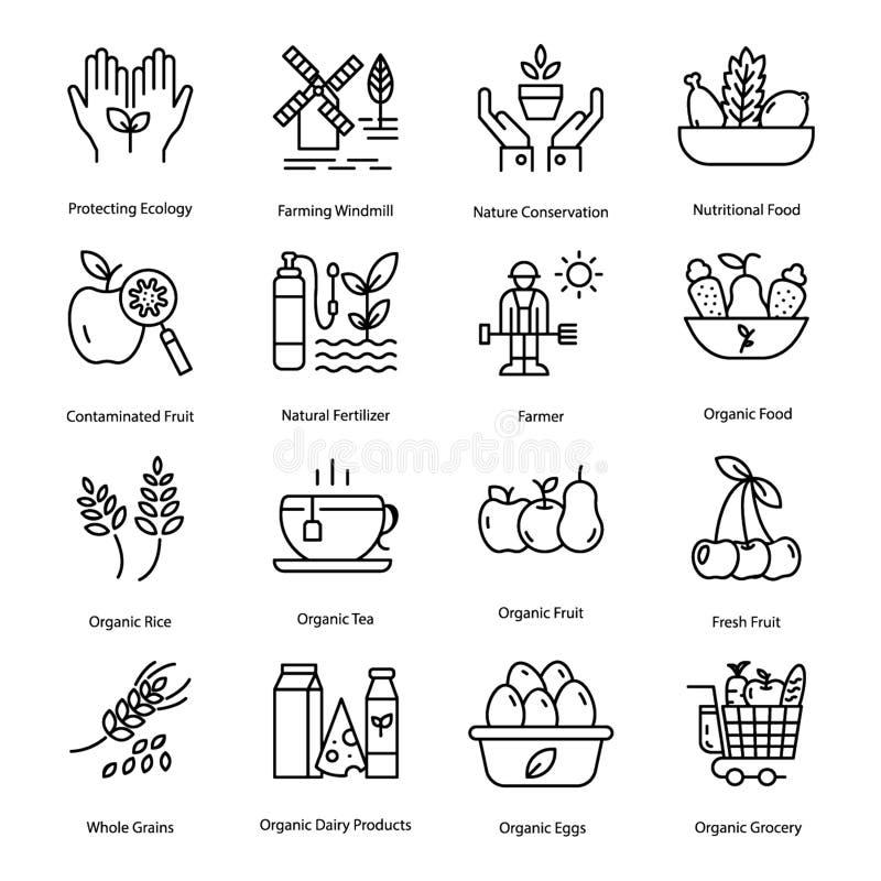 A linha ícones do cultivo orgânico embala ilustração do vetor
