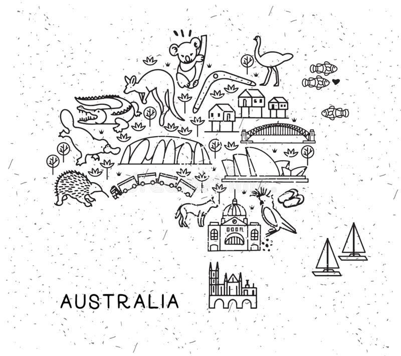 A linha ícones do curso de Austrália traça Cartaz do curso com animais e atrações sightseeing Vetor inspirado ilustração stock