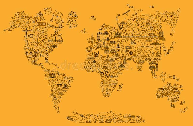 A linha ícones do curso do mundo traça Cartaz do curso com animais e atrações sightseeing Ilustração inspirada do vetor ilustração stock