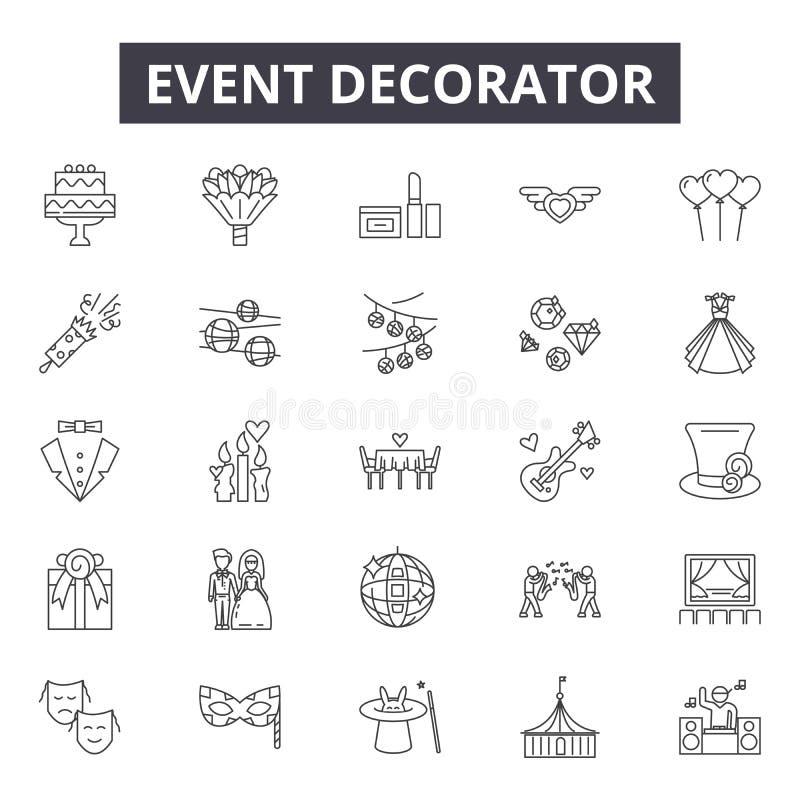 Linha ícones do decorador do evento, sinais, grupo do vetor, conceito da ilustração do esboço ilustração royalty free