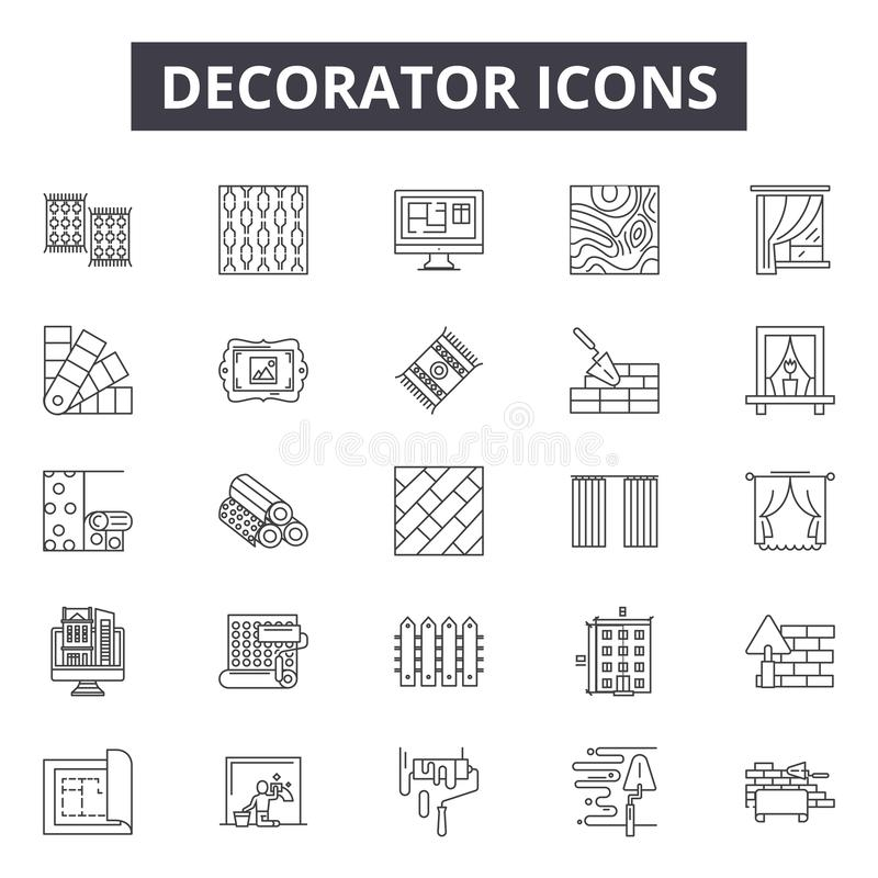 Linha ícones do decorador, sinais, grupo do vetor, conceito da ilustração do esboço ilustração stock