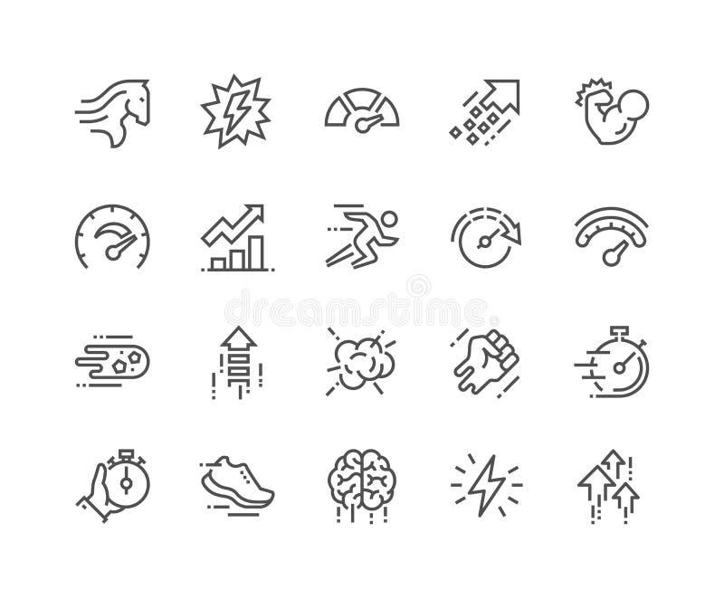 Linha ícones do desempenho ilustração stock