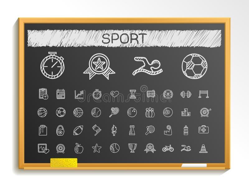 Linha ícones do desenho da mão do esporte ilustração do sinal do esboço do giz no quadro-negro ilustração stock