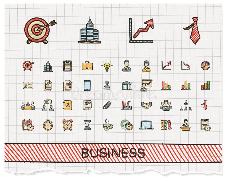 Linha ícones do desenho da mão do negócio ilustração royalty free
