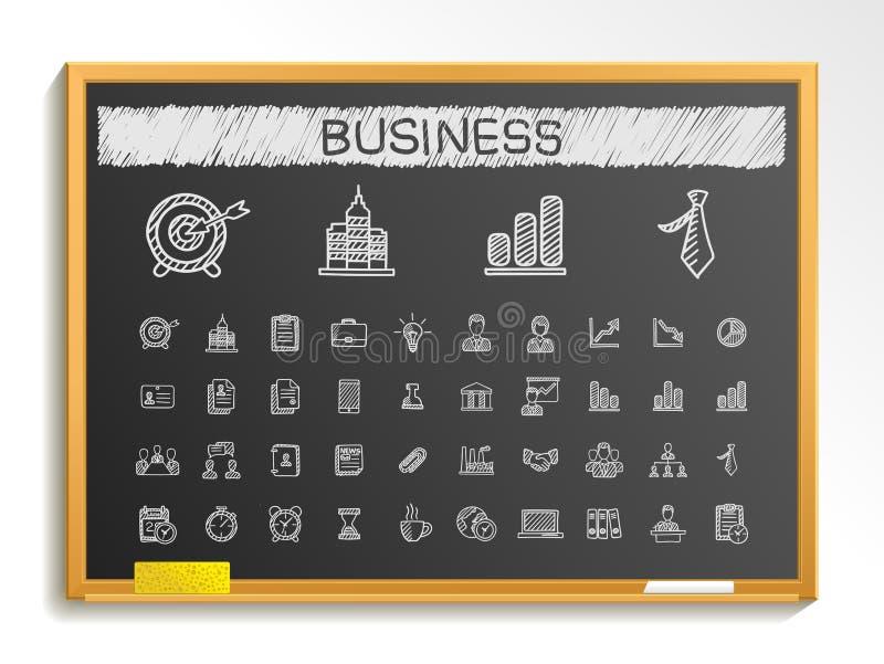 Linha ícones do desenho da mão do negócio Grupo do pictograma da garatuja do vetor, ilustração do sinal do esboço do giz no quadr ilustração do vetor