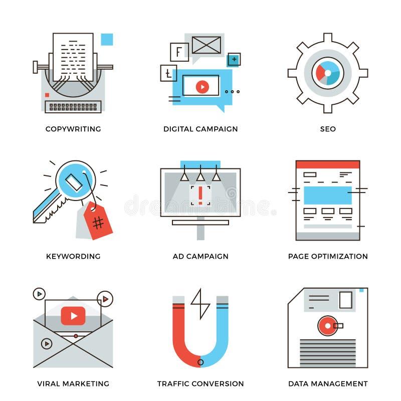 Linha ícones do desenvolvimento da campanha de Digitas ajustados ilustração stock