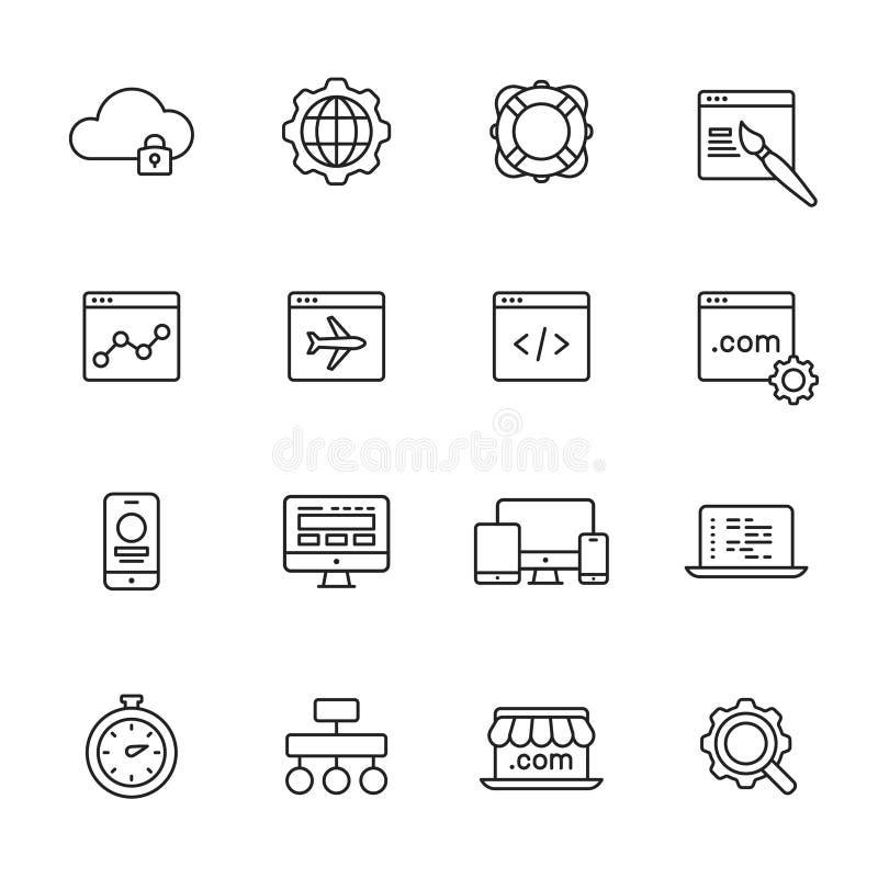 Linha ícones do desenvolvimento da Web ilustração do vetor