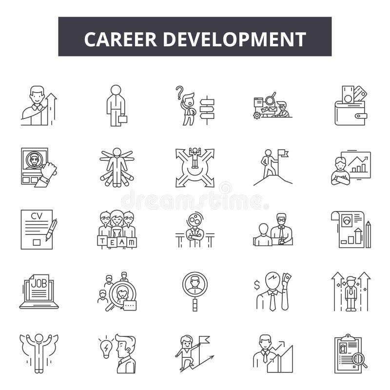 Linha ícones do desenvolvimento de carreira, sinais, grupo do vetor, conceito da ilustração do esboço ilustração royalty free