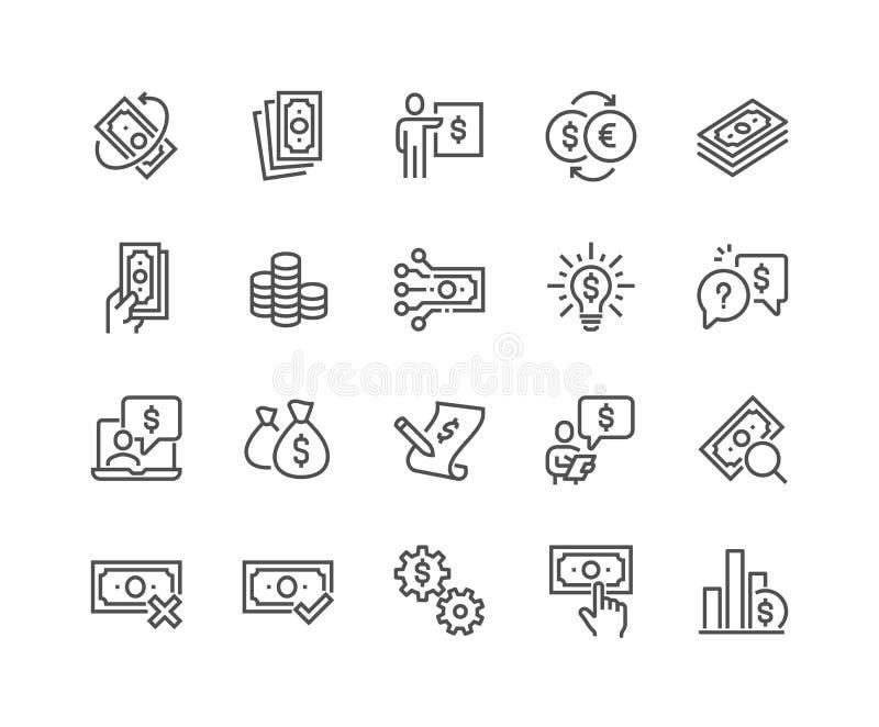 Linha ícones do dinheiro ilustração stock
