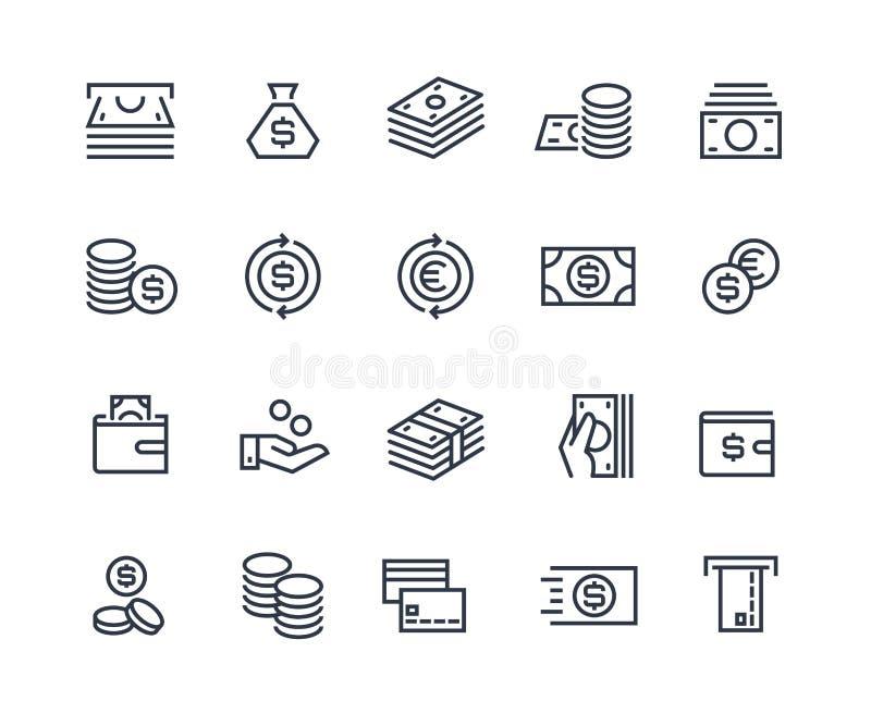 Linha ícones do dinheiro Troca comercial do mercado financeiro do pagamento do negócio Carteira do cartão de dinheiro, símbolos d ilustração stock