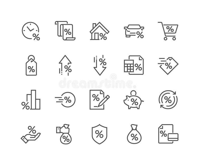 Linha ícones do empréstimo ilustração stock
