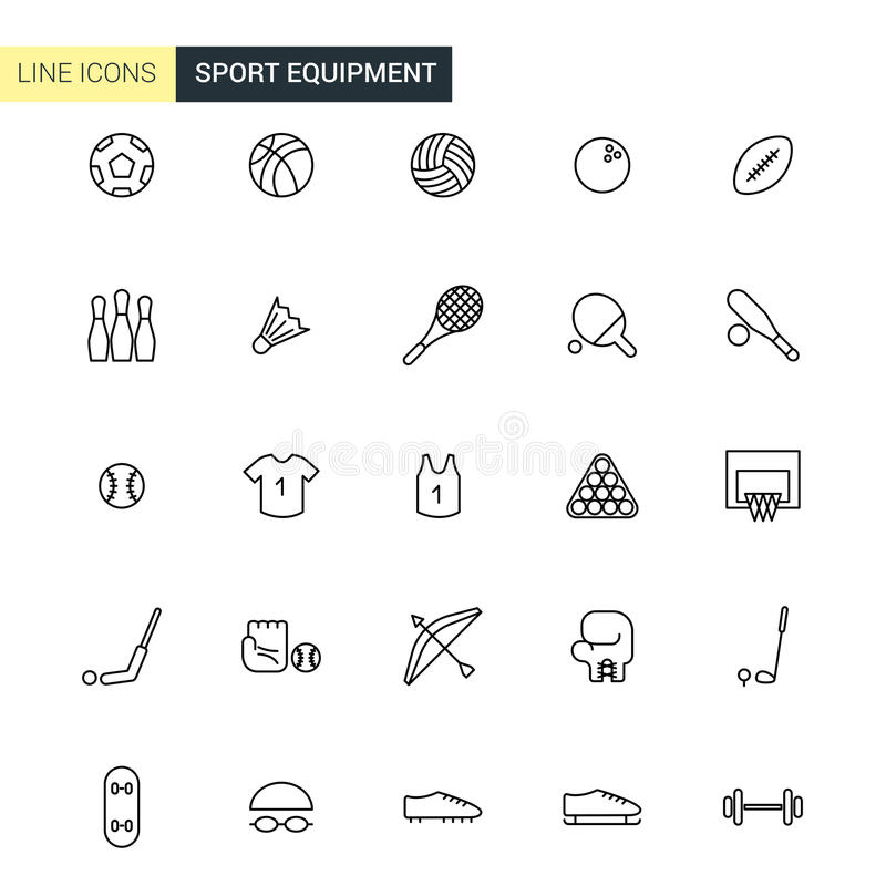 Linha ícones do equipamento de esporte do vetor ilustração stock