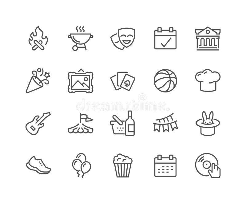 Linha ícones do evento ilustração royalty free