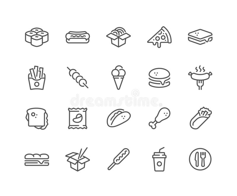 Linha ícones do fast food ilustração royalty free