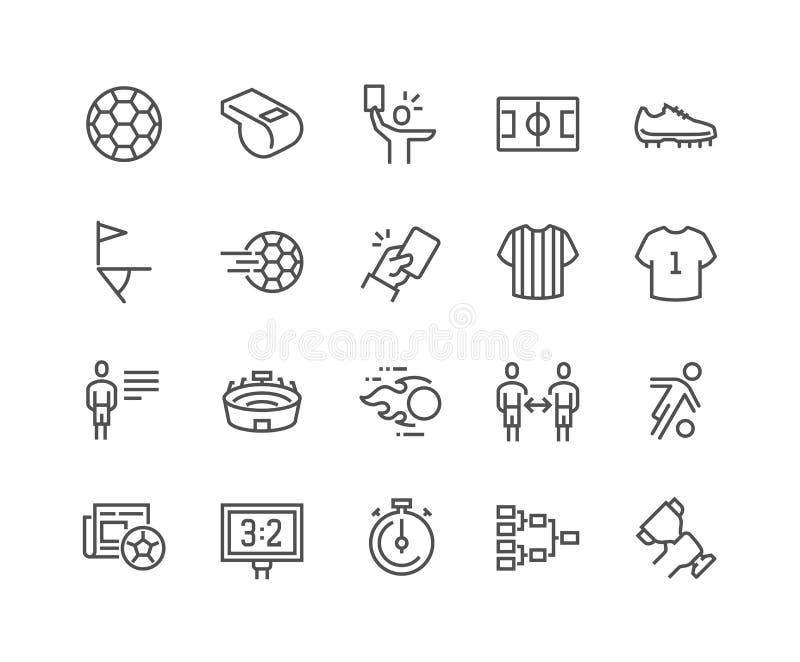 Linha ícones do futebol ilustração stock