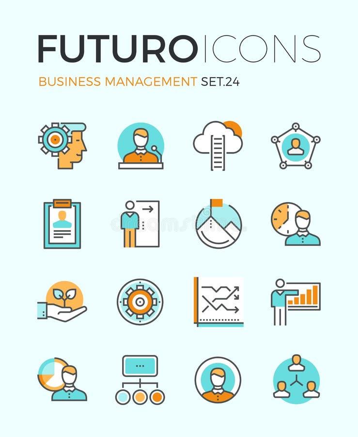 Linha ícones do futuro da gestão empresarial ilustração do vetor