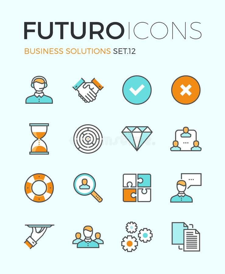 Linha ícones do futuro das soluções do negócio