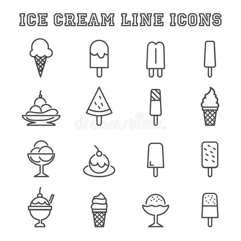 Linha ícones do gelado ilustração do vetor