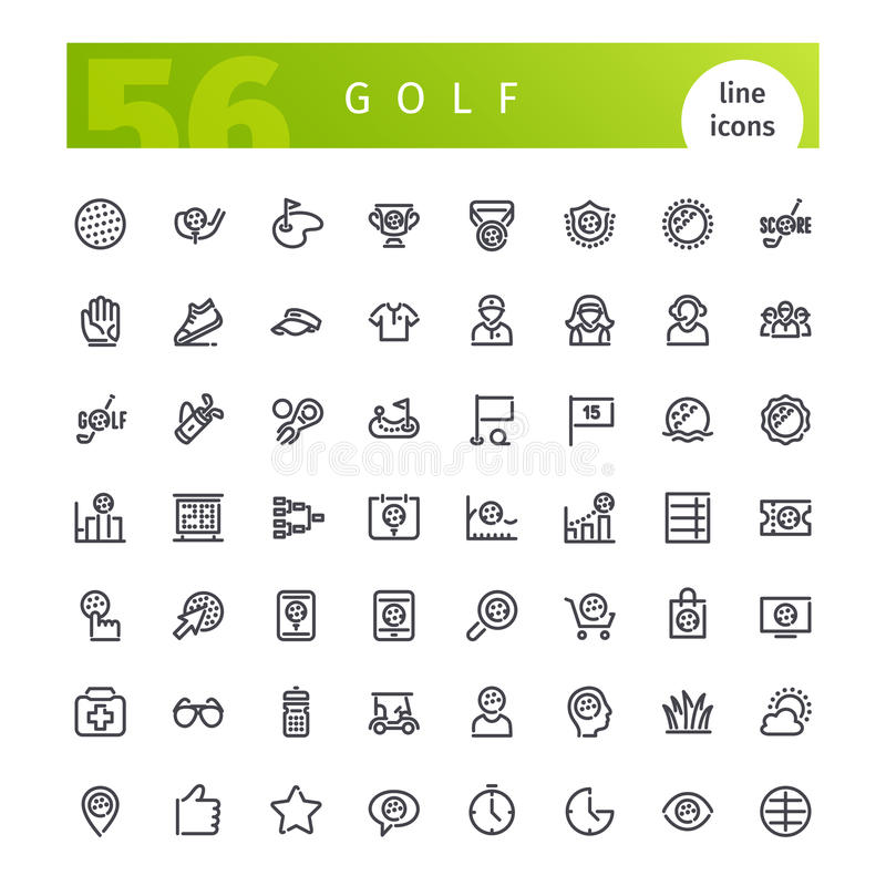 Linha ícones do golfe ajustados ilustração do vetor