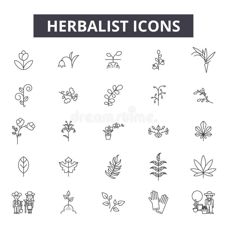 Linha ícones do herborista, sinais, grupo do vetor, conceito da ilustração do esboço ilustração do vetor