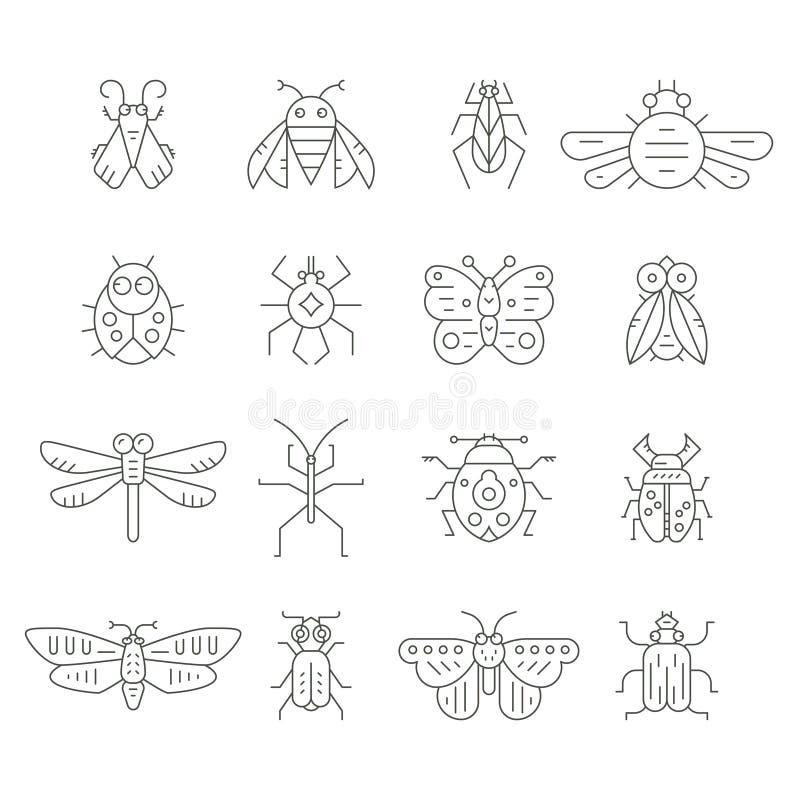 Linha ícones do inseto ilustração stock