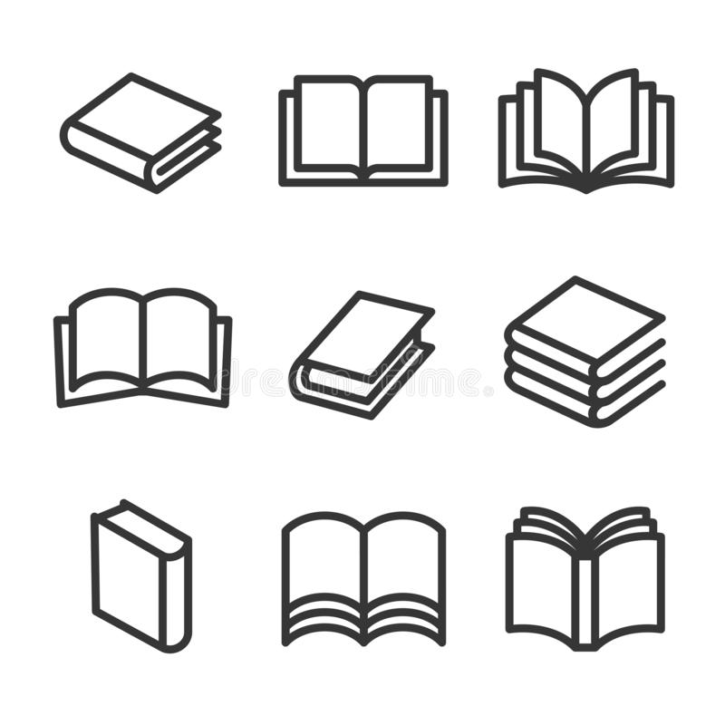 Linha ícones do livro do estilo ajustados no fundo branco Vetor ilustração do vetor