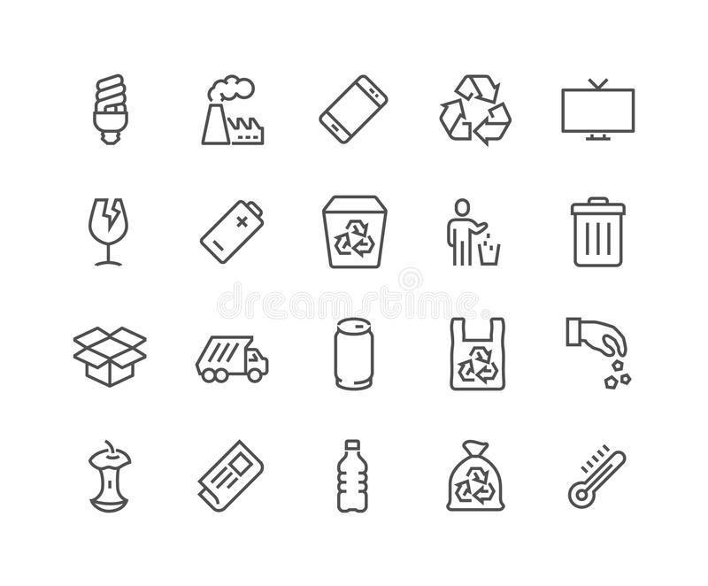 Linha ícones do lixo ilustração royalty free