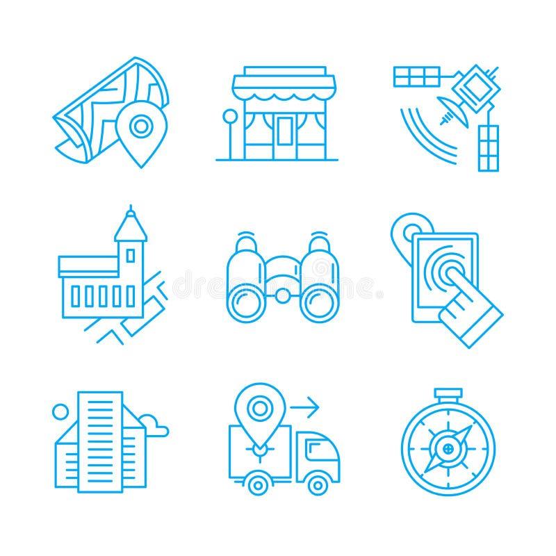Linha ícones do lugar ilustração royalty free