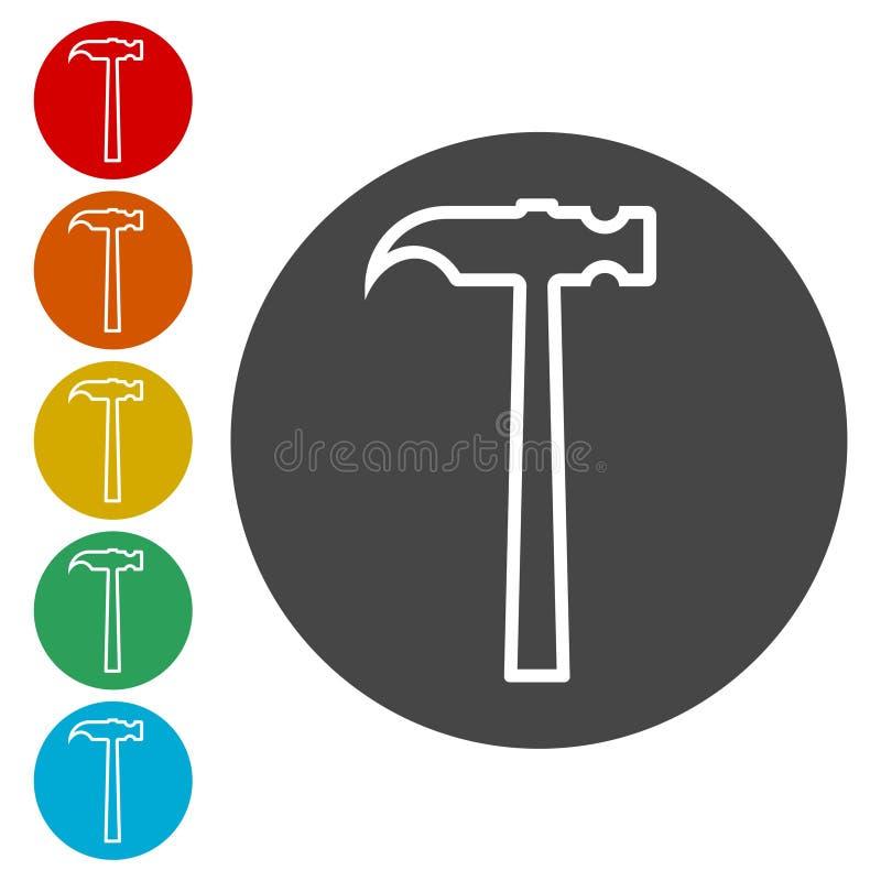 Linha ícones do martelo ajustados ilustração royalty free