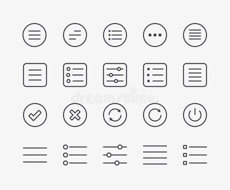 Linha ícones do menu da navegação ilustração royalty free