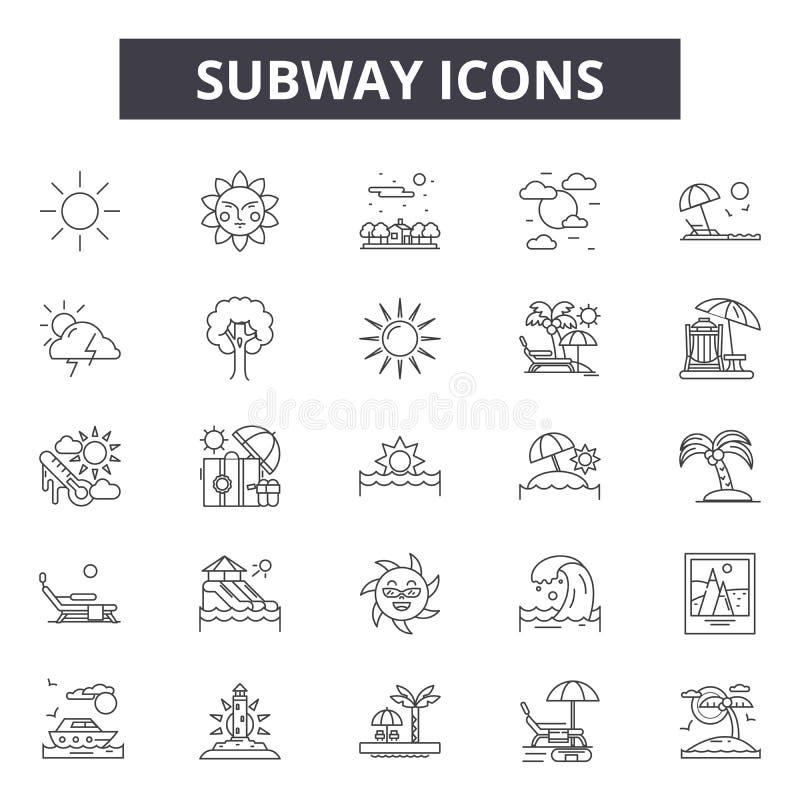 Linha ícones do metro, sinais, grupo do vetor, conceito linear, ilustração do esboço ilustração stock