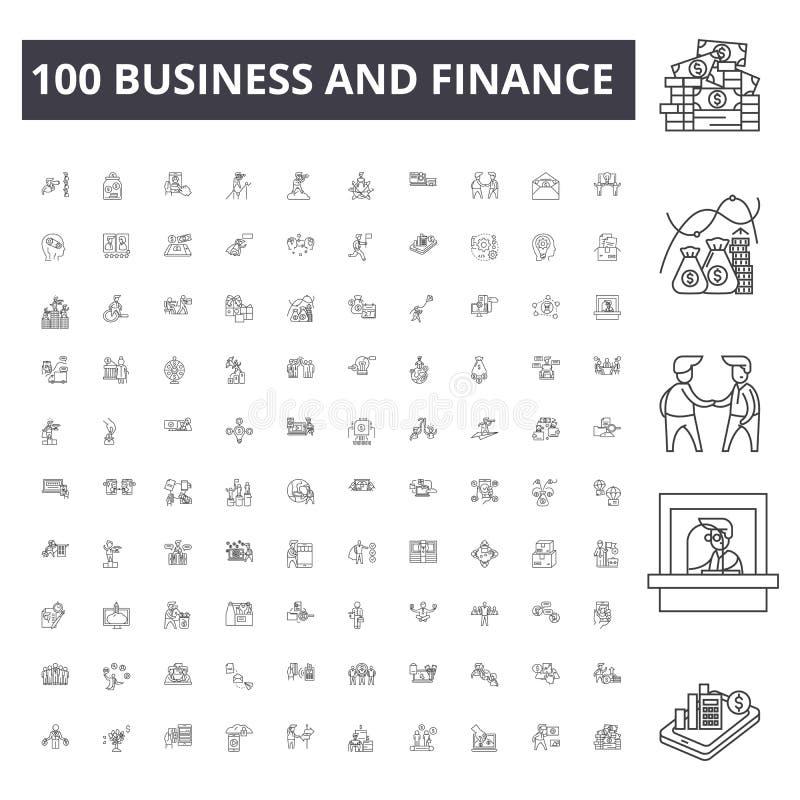 Linha ícones do negócio e da finança, sinais, grupo do vetor, conceito da ilustração do esboço ilustração stock