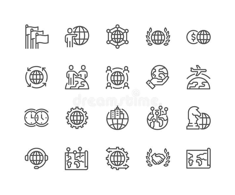 Linha ícones do negócio global ilustração stock