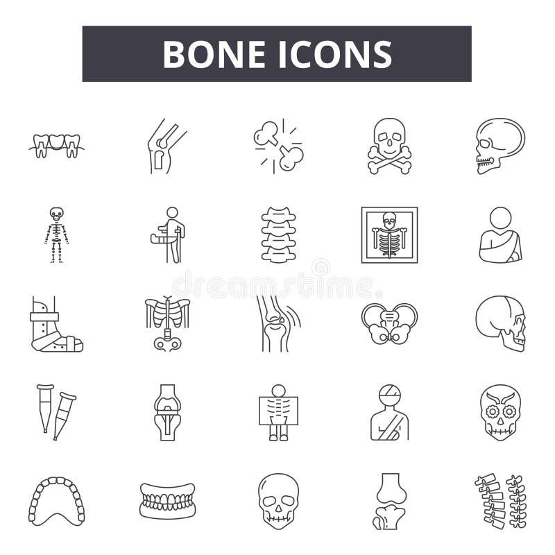 Linha ícones do osso para a Web e o projeto móvel Sinais editáveis do curso Ilustrações do conceito do esboço do osso ilustração royalty free