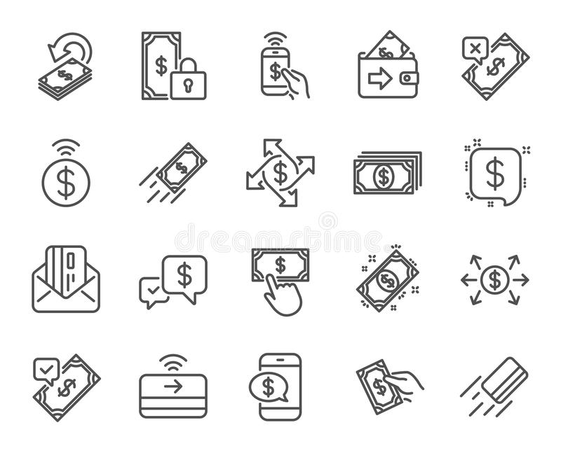 Linha ícones do pagamento O grupo de transferência Accept, pagamento com telefone e carda pelo correio Vetor ilustração do vetor