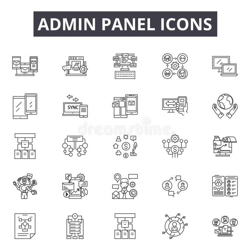Linha ícones do painel do Admin Sinais editáveis do curso Ícones do conceito: painel, tecnologia, rede, Web site, kpi etc. admin ilustração royalty free