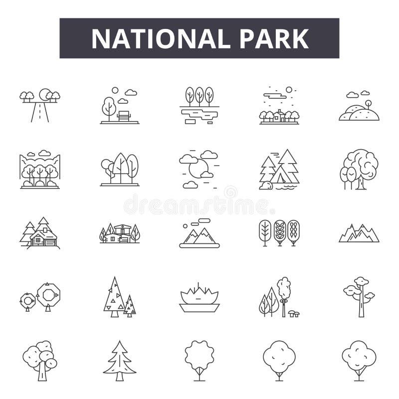 Linha ícones do parque nacional, sinais, grupo do vetor, conceito da ilustração do esboço ilustração stock