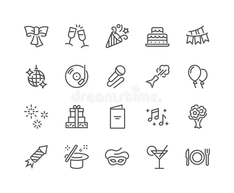 Linha ícones do partido ilustração royalty free